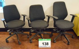 Three Charcoal Fabric Upholstered Gas Lift Typists Swivel Chairs on Castors