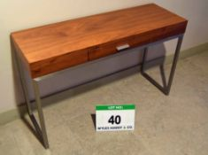 A Mid Oak Veneered Console Desk with fitted Single Central Drawer on Steel Frame