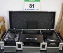 A Mobile DJ Console comprising A PIONEER CDJ-350 Digital CD Deck, A PIONEER CDJ-400 Digital CD Deck,