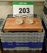 Two Plastic Dishwasher Baskets containing Sixty Fluted Whisky Tumblers