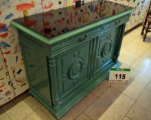 An Edwardian Green Painted Heavy Wooden Sideboard having Twin Drawers, Panelled and Carved Twin Door
