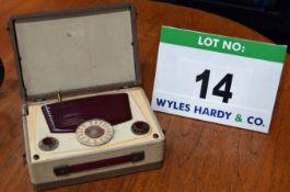 A VIDAR Vintage Long/Medium Wave Wireless Radio Set in Integrated Carry Case (Broken/Ornamental