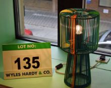 A Green/Blue/Orange/Yellow Table Lamp formed of Plastic Cord Over a Steel Frame