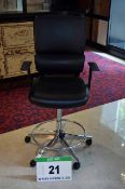 A PARITY Black Leatherette Upholstered Castor mounted Gas Lift Executive Draughtsmans Chair with
