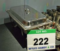 A Stainless Steel Chafing Pan Warming Frame with Brat Pan and Lid
