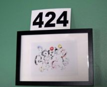 A 325mm x 225mm Abstract Water Colour and Ink Artwork in a Black Lacquered Glazed Box Frame Signed