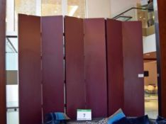 A Burgundy Painted Timber 6-Section Folding Free Standing Privacy Screen - 3M x 3M Fully Extended