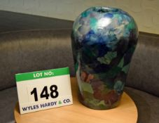 A Paper Mache Urn Having an Abstract Pattern in Blues and Greens, 540mm Tall x 360mm at widest