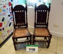 A Pair of Antique Carved Oak Hall Chairs having Barley Twist Back Supports and Front Stretcher and