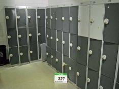 Five Grey Steel 9-Door Personnel Lockers and Three Grey Steel 6-Door Personnel Lockers