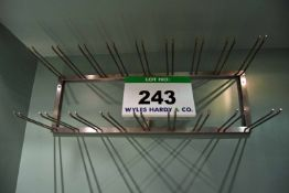 An 18-Slot Wall mounted Stainless Steel Wine Glass Rack