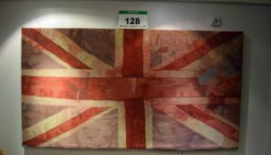A 2340mm x 1280mm Union Jack Tapestry mounted on a Wooden Frame Bearing the Signature of 'Vivienne