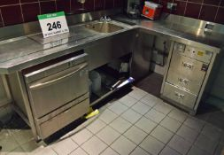 A Free Standing Commercial Stainless Steel Sink Unit and Drainer with Appliance Aperture, Lower