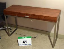 A Mid Oak Veneered Console Desk with fitted Single Central Drawer on Steel Frame NB. Scrates noted