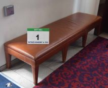 A 2.2M Long Brown Leatherette Upholstered Reception Bench Seat