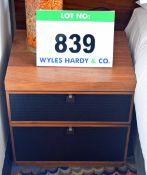 A NOBLE RUSSELL American Black Walnut Black Embossed Fronted 2-Drawer Bedside Unit