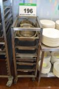 A Stainless Steel Castor mounted 11-Tier Brat Pan Trolley with A Quantity of Brat Pans and Cake