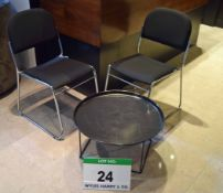 A Pair of Chromed Steel Framed Black Fabric Upholstered Skid Base Chairs with a Black Painted