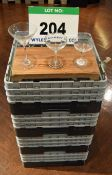 Four Plastic Dishwasher Baskets containing Forty Three Various Cocktail Glasses