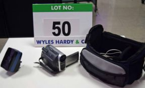 A SONY DCR-HC37 Handycam Digital Video Camera complete with USB Interface Cable, Mains Battery