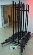 Five Unbranded Heavy Steel Castor mounted Display Stands