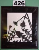 A Pair of 535mm x 610mm and 425mm x 610mm Framed and Glazed Black and White Dandelion Silhouette