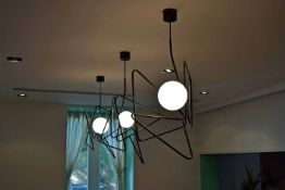 Three Abstract Design Globe Pendant Lights (Risk Assessment and Method Statement are required for