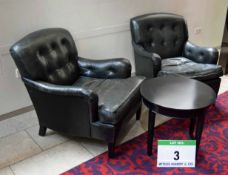 A Pair of Blue/Black Buttoned Leather Upholstered Lounge Chairs by GEORGE SMITH of Newcastle with