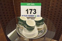 Six MAXWELL WILLIAMS Café Colture Green and White Glazed Coffee Cups with Eight ORION White Saucers
