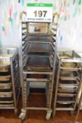 A BOURGEAT Stainless Steel 20-Tier Castor mounted Tray Cart with a Quantity of Trays and Pans (As