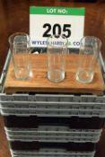 Three Plastic Dishwasher Baskets containing Seventy Nine Tall Plain Tumblers
