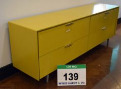 An 1800mm long x 40mm deep x 520mm high Yellow Painted Low Storage Unit with Twin Fold-Down Doors