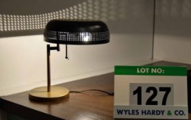 An Unbranded Gold and Black Painted Metal Desk Lamp with Pull Chain Switch and Swivelling Shade