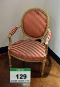An Empire Style Reproduction Salon Chair with Candy Stripe Velour and Cotton Upholstery.
