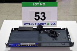 A JUNIPER NETWORKS SRX100 8-Port 2-Speed Network Switch with fitted Rack Tray