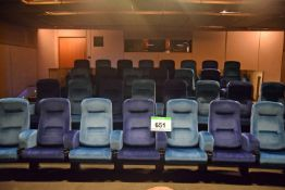 Thirty 2-Tone Blue Velour Upholstered Spring Back Auditorium Seats in Three Rows of Eight and One