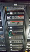 A 19 inch Steel Comms. Rack containing, Two 10-Way Switch Power Distribution Units (NB. Lots 606