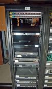 A 19 inch Comms. Rack containing Two 10-Way Switched Power Distribution Units (NB. Lots 606 thru 659
