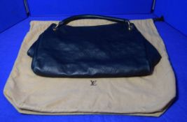 A LOUIS VUITTON Artsy Tote Bag in Navy Blue Imprinted Leather with embossed Logos. The open top