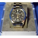 A ROLEX Explorer Watch in a 36mm dia. Oyster Steel Case, a Black Dial Large Hour Markers and