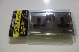20 X SMJ PPSK2GDP-CH Power Pro Decorative 13A 2G Double P Switched Socket Chrome Finish Black