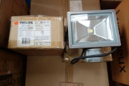 10 x PHILIPS LED8/740WBMDU 11w LED Floodlights with PIR Sensor 4000K Grey Finish