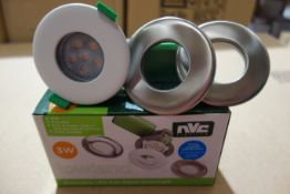 40 X NVC NLW3/MD/830 Lowland 3W LED Fire Rated Dimmable Downlights C/W Satin Chrome + White Bezels