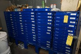 Lot of (5) Fastenal 12-Drawer Hardware Cabinets w/Contents