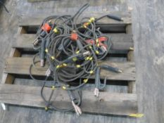 Lot of (10) Stick Set Up Welding Leads | Approx 125 lbs