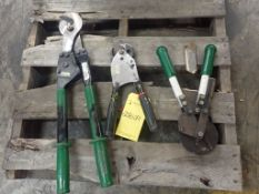 Lot of (3) Assorted Ratchet Cable Cutters