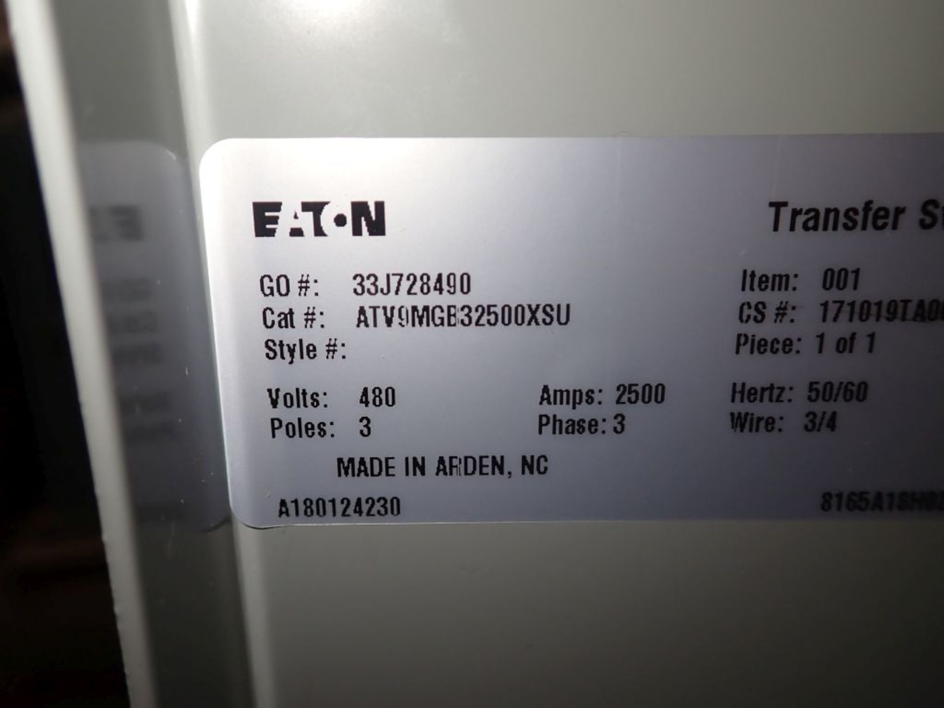Eaton Transfer Switch | Cat No. ATV9MGB32500XSU; 480V; 3 PH; 2500A; (2) Eaton Magnum DS Circuit - Image 39 of 50