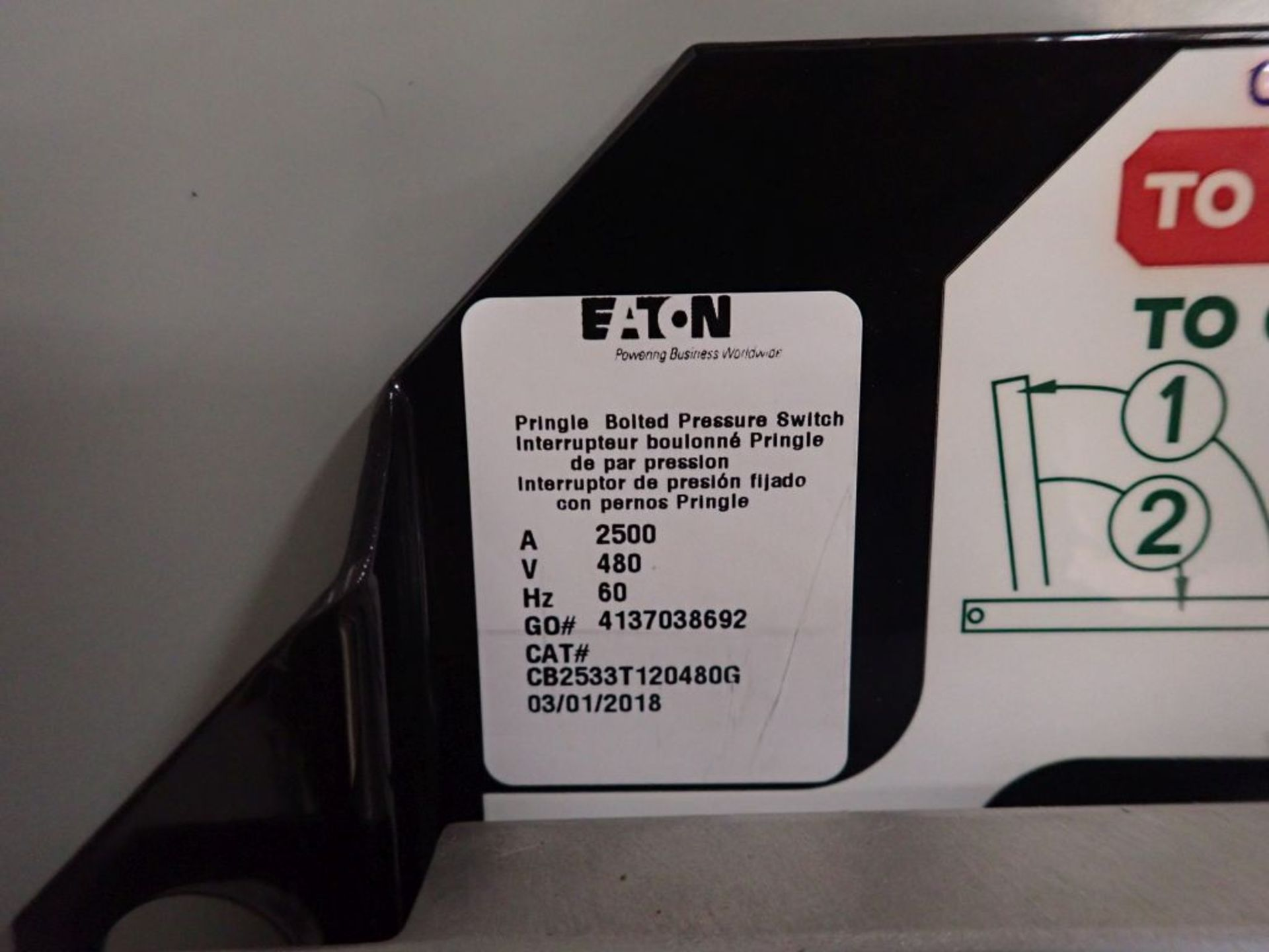 Eaton Pow-R-Line Switchboard   PRL-C; 480V; 3 PH; (1) Pringle Bolted Pressure Switch, 2500A, Cat No. - Image 12 of 13