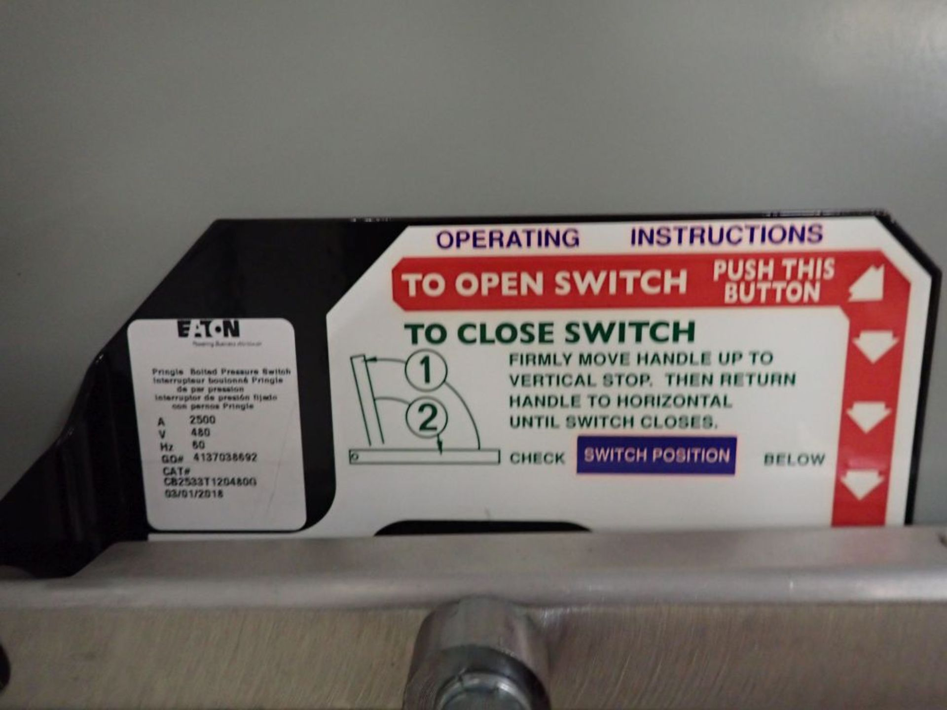 Eaton Pow-R-Line Switchboard   PRL-C; 480V; 3 PH; (1) Pringle Bolted Pressure Switch, 2500A, Cat No. - Image 11 of 13