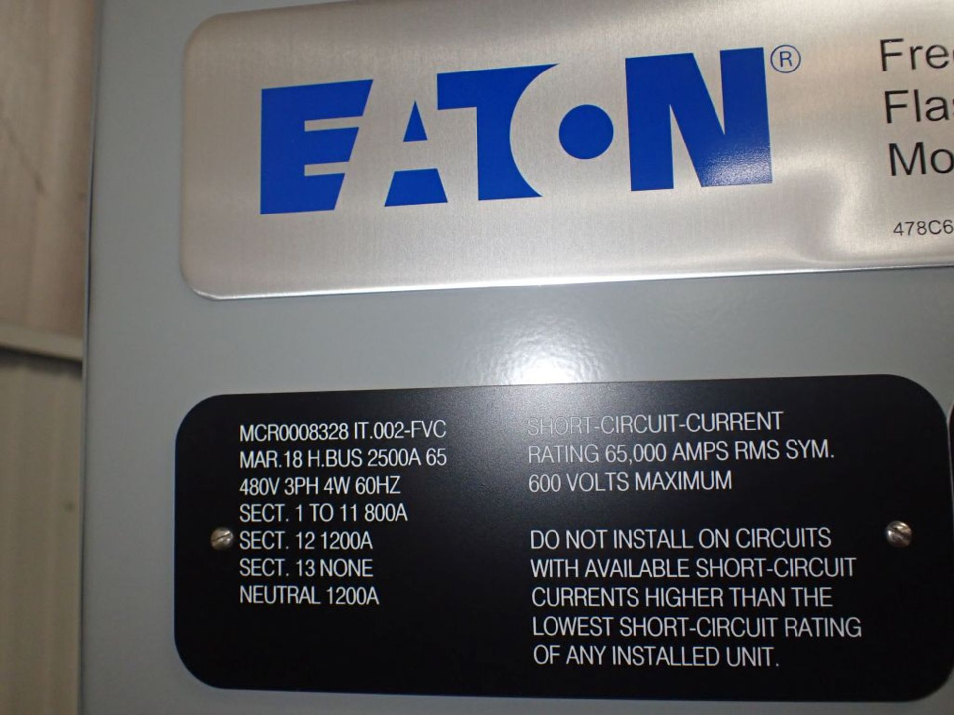 Eaton Freedom Flashgard Motor Control Center   (3) F216-15A-10HP; (1) FDRB-125A, with 150A - Image 13 of 57